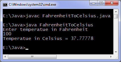 Fahrenheit to Celsius Java program output