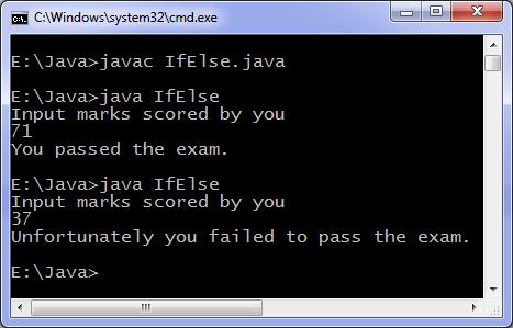 Java if else program output