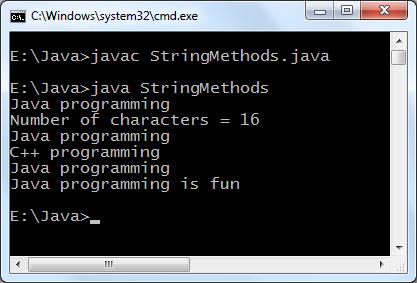 Java string methods program