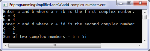 output of c program to add two complex numbers
