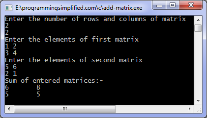 addition of two matrix in c using 2d array