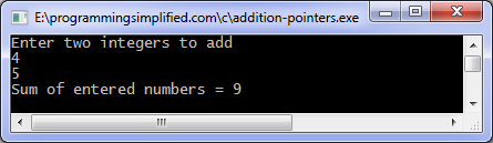 C program to add two numbers using pointers | Programming Simplified