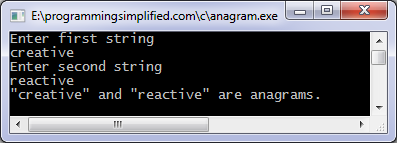 C anagram program output