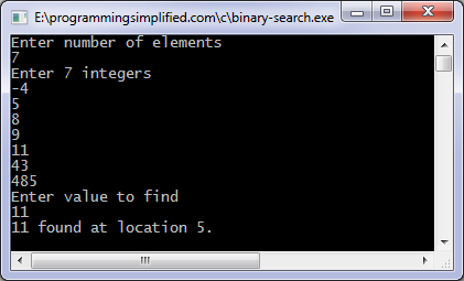 Binary search c program