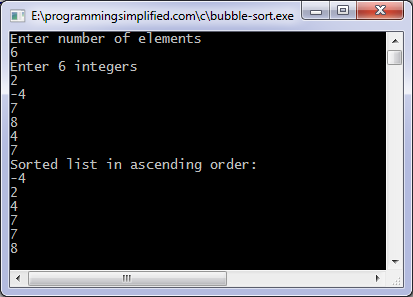 Bubble sort c program