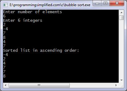 selection sort program in c