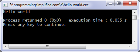 Hello world C program output