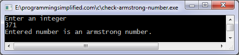 Check armstrong number c program