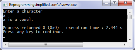 C program to check whether a character is vowel or consonant