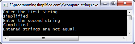 C program to compare two strings | Programming Simplified