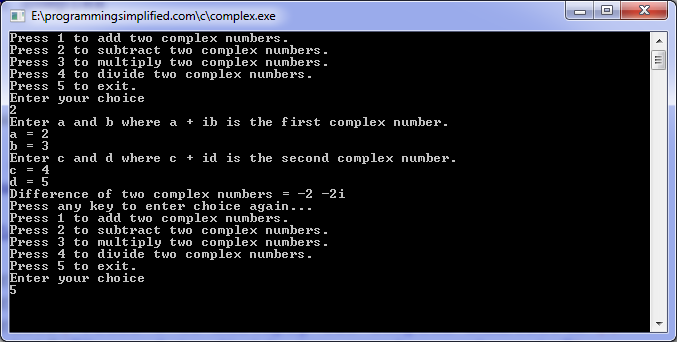 Complex arithmetic operations C program