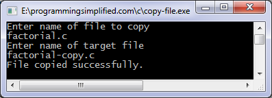 Output of C program to copy a file