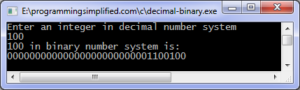 Binary to decimal c function