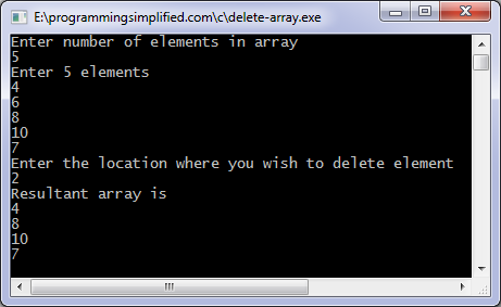 Delete element from array C program output
