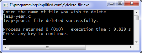 output of c program to delete file
