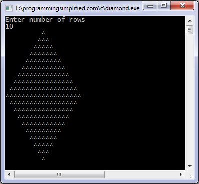 Diamond pattern C program output