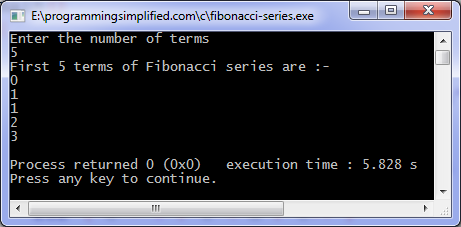 Fibonacci series C program output