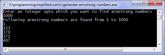 Generate armstrong numbers c program
