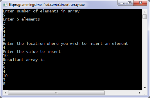Insert element in array c program