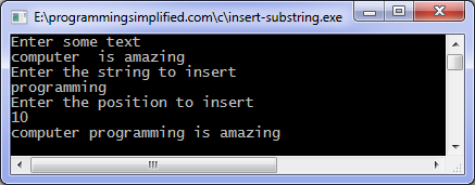 Insert substring c program