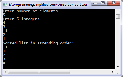 Insertion sort c program