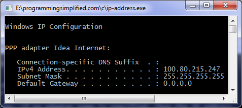 IP address C program output