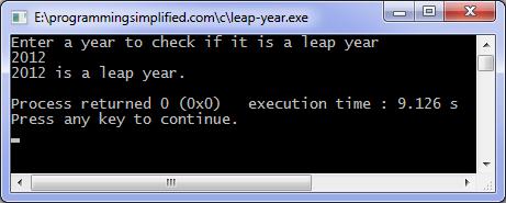 Leap year program in C | Programming Simplified