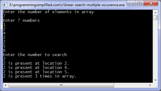 Linear Search program output for multiple occurrence