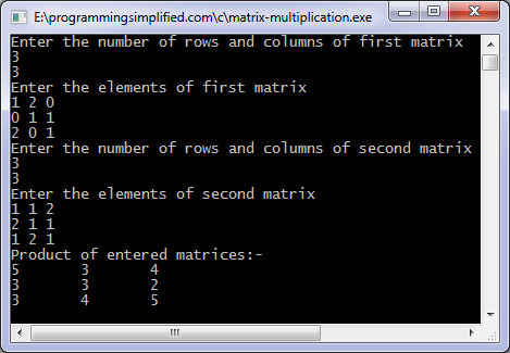 write a c program for matrix addition using arrays