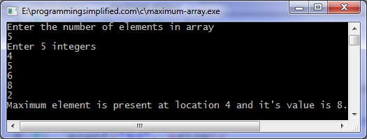 Maximum element in array c program