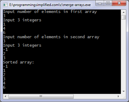 Merge arrays c program