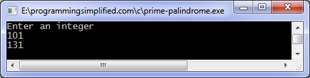 Next prime palindrome C program output