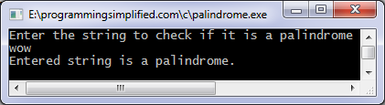 Palindrome program in C output