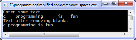 Remove spaces c program