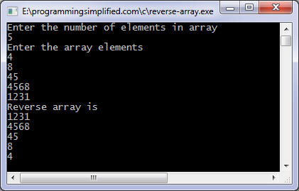 Reverse array C program output