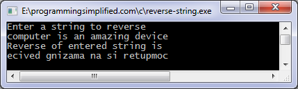 Reverse string C program output