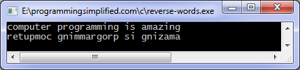 Reverse words c program
