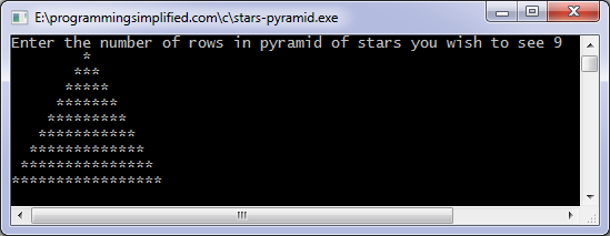Stars pyramid C program output