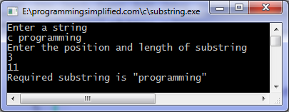 Substring program output