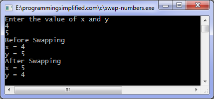 Swap numbers C program output