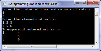 Transpose matrix C program output