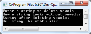 C program to delete vowels from a string output