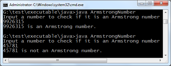 Armstrong number java program output