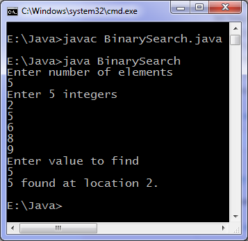 Java program for binary search | Programming Simplified