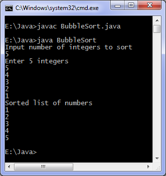 Bubble sort Java program output