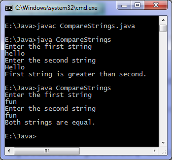 Java program to compare two strings output