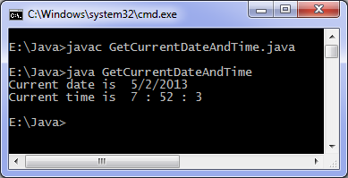 Java date and time program output