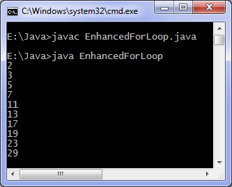 Enhanced for loop java program