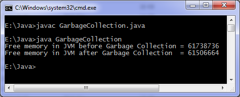 Java program for garbage collection output