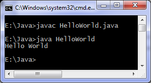 Java hello world code output